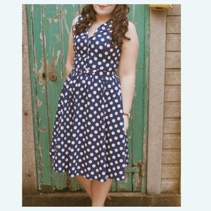 Lindy Bop Matilda Polka Dot Dress Midi L Cotton